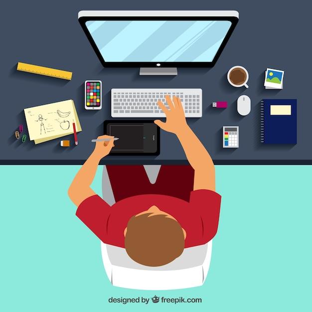 Lugar de trabajo de dise o gr fico descargar vectores gratis for Diseno mesa de trabajo