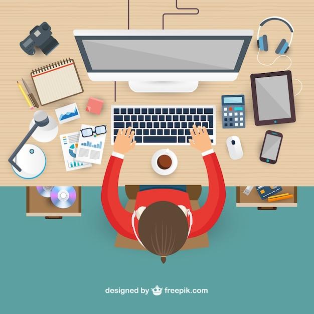 Lugar de trabajo en vista superior descargar vectores gratis for Software di home builder online