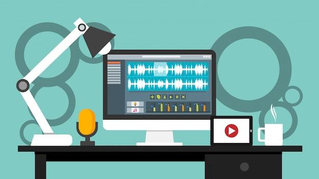 Lugar de trabajo de la aplicación de software de interfaz de editor de sonido y video en un monitor de computadora Vector Premium