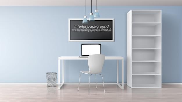 Lugar de trabajo en casa en la habitación del apartamento interior minimalista 3d realista vector maqueta. marco de pintura con texto de muestra debajo de la mesa de trabajo con computadora portátil, silla y estante con ilustración de estantes vacíos vector gratuito