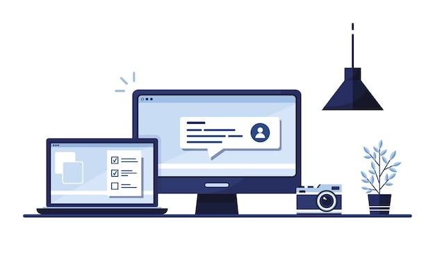 Lugar de trabajo en casa, en la oficina. ordenador portátil. formulario de solicitud completado para el sitio. rellenando documentos. pantalla del monitor. azul Vector Premium