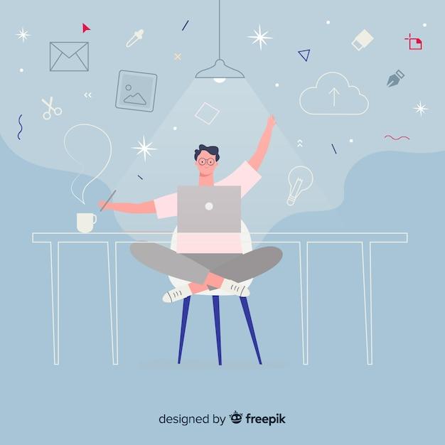 Lugar de trabajo diseñador gráfico vector gratuito