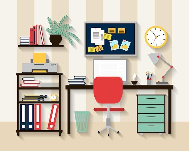Lugar de trabajo en el interior de la habitación del gabinete. ordenador portátil y mesa, silla y reloj, lámpara y comodidad. vector gratuito