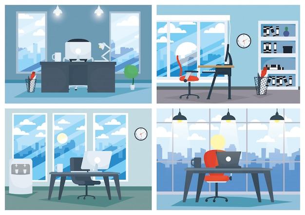 Lugar de trabajo de oficina con laptop y escritorio Vector Premium