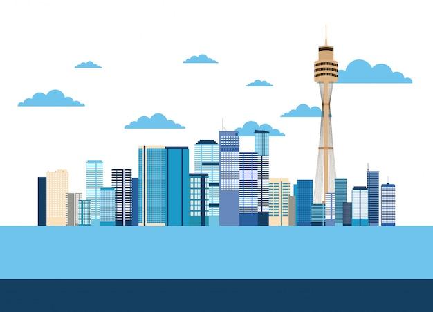 Lugares de australia se relacionan vector gratuito