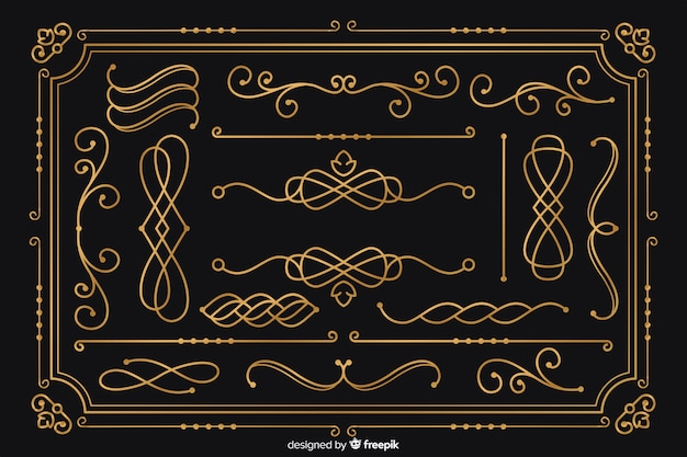 Lujosa colección de adornos dorados vector gratuito