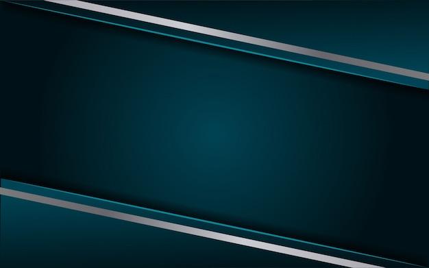 Lujoso fondo azul oscuro con una combinación de línea metálica plateada en estilo 3d Vector Premium