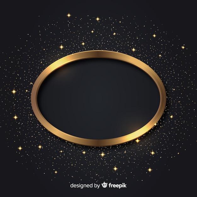 Lujoso fondo con marco dorado brillante Vector Premium
