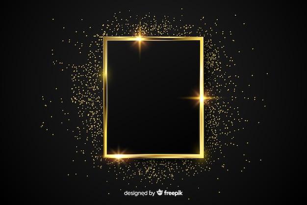 Lujoso fondo con marco dorado brillante vector gratuito