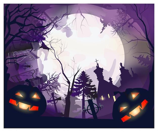 Luna con árboles, tumbas, casa y calabazas alrededor. vector gratuito
