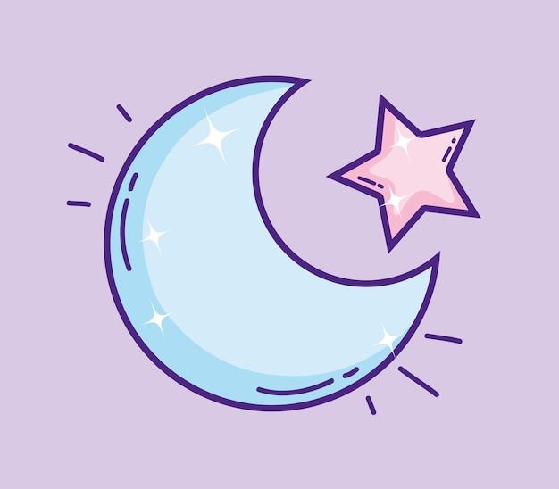 Luna Con Dibujos Animados Estrella Descargar Vectores Premium