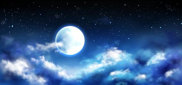 Luna llena en el cielo nocturno con estrellas y nubes escena vector gratuito