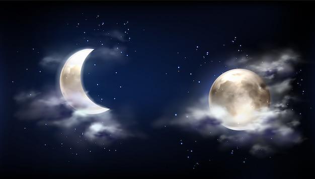 Luna llena y media luna en el cielo nocturno con nubes vector gratuito