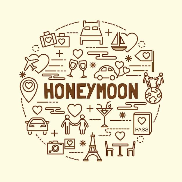 52e085642d Luna de miel minimalista delgada línea iconos conjunto