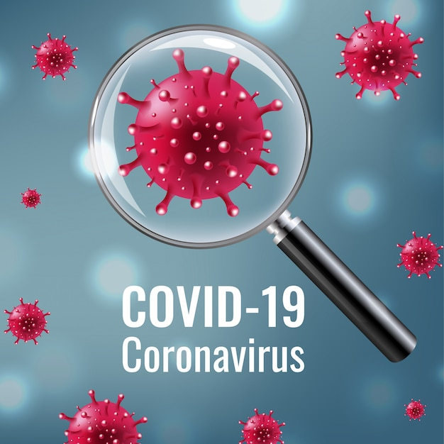 Lupa con coronavirus covid 19 Vector Premium