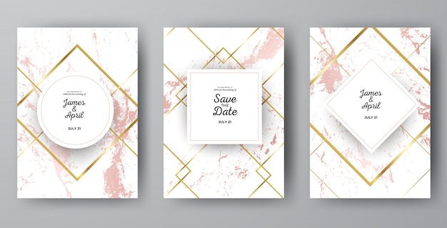 Luxury pink marble wedding invitation card templates Vector Premium