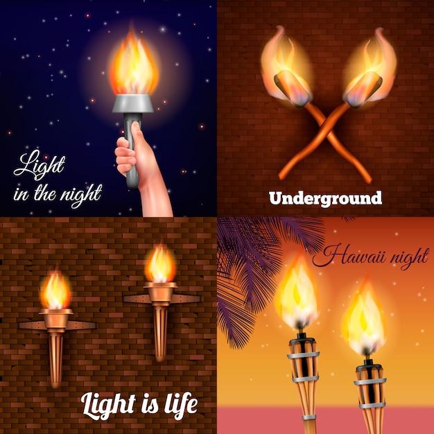 Luz de la antorcha vector gratuito