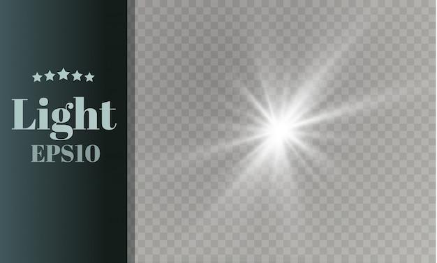 La luz blanca brillante explota. lucero. sol brillante transparente, destello brillante. Vector Premium