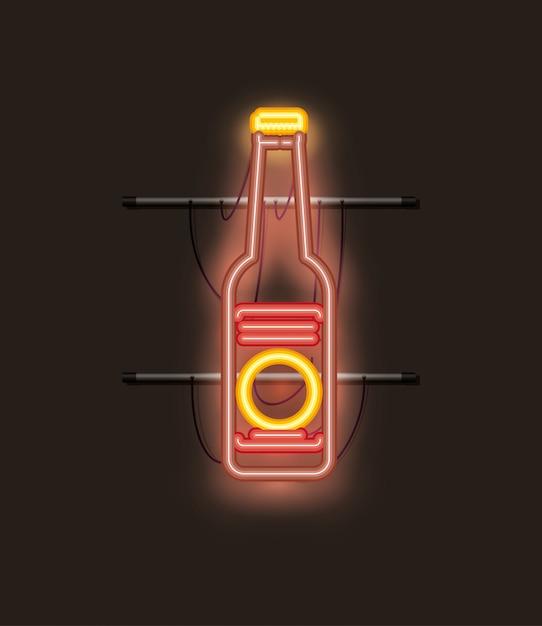 Luz de neón botella de cerveza Vector Premium