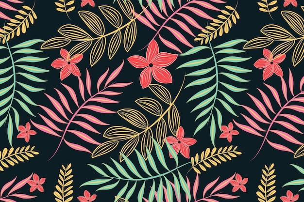 Luz de neón deja patrones florales sin fisuras vector gratuito