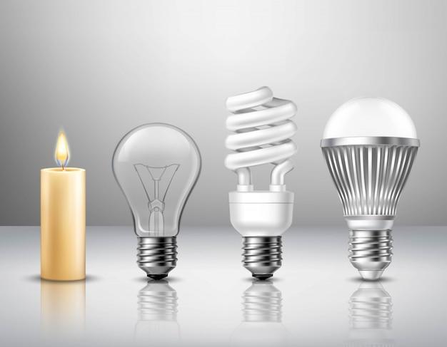 Luz realista concepto evolución de la vela. vector gratuito
