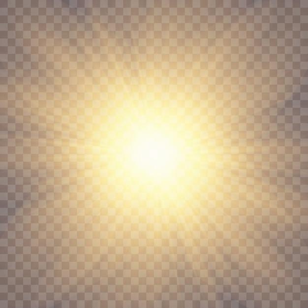 La luz del sol sobre un fondo transparente. efectos de luz brillante. Vector Premium