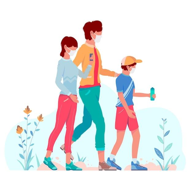 Madre caminando con niños con máscaras médicas al aire libre Vector Premium