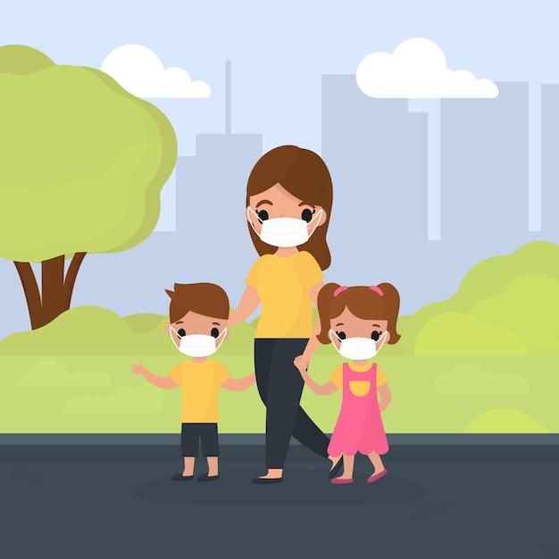 Madre caminando con niños usando máscaras médicas vector gratuito