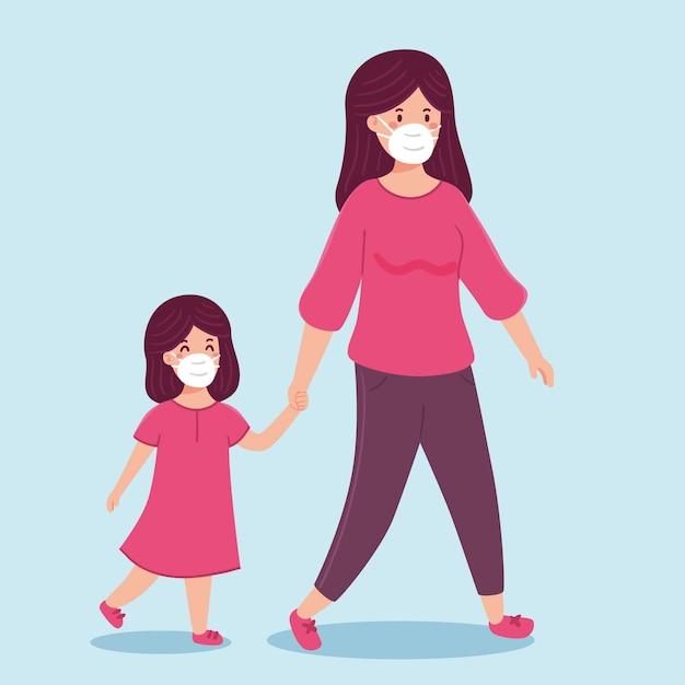 Madre caminando con sus hijos con máscaras médicas vector gratuito