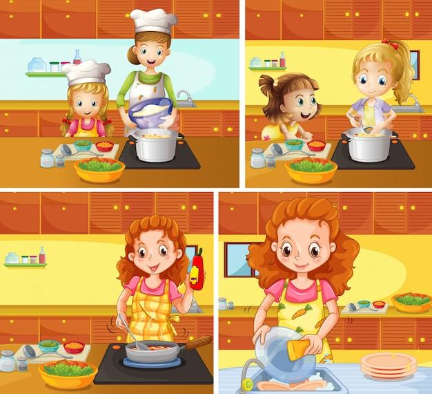 Madre e hija cocinando y limpiando vector gratuito