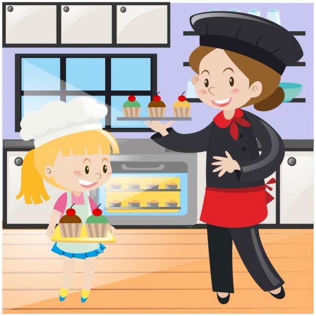 Madre e hija cocinando descargar vectores gratis for Cocinar imagenes animadas