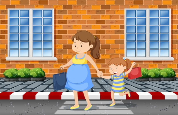 Madre e hija cruzando la calle. vector gratuito