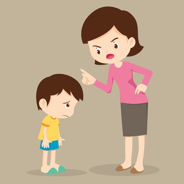 Madre enojada con su hijo y culpa Vector Premium