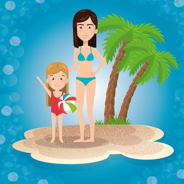 Madre con hija en la playa vector gratuito