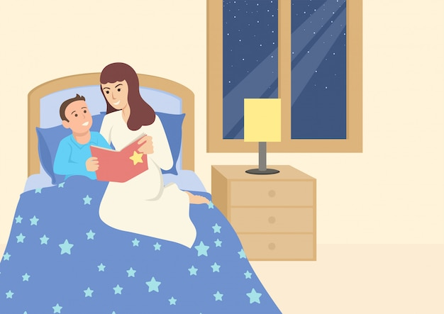 Madre leyendo un libro a su hijo antes de dormir Vector Premium