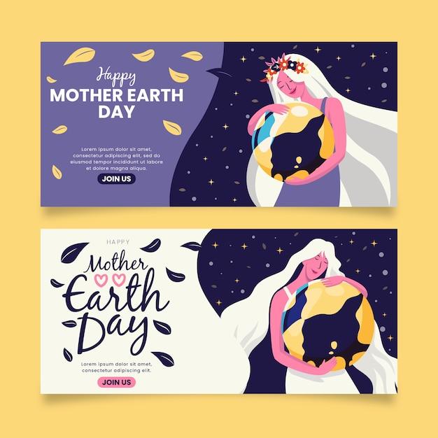 Madre llevando la tierra como su estandarte infantil vector gratuito