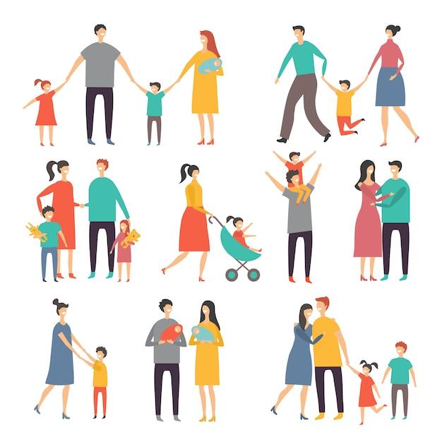 Madre padre e hijos. ilustraciones de familia feliz. fotos de estilo de vida Vector Premium
