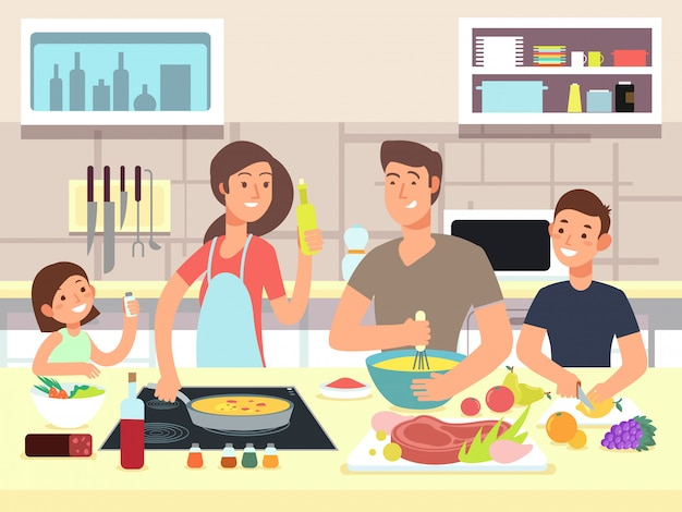 Madre y padre con hijos cocinan platos en dibujos animados de cocina Vector Premium