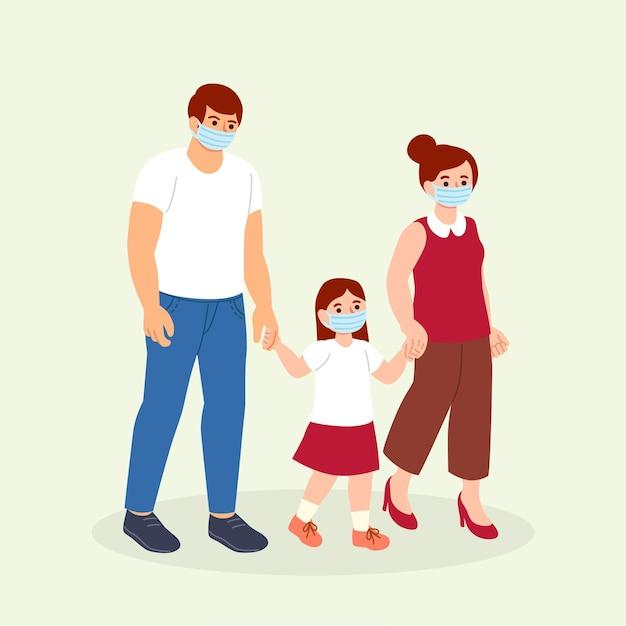 Madre y padre paseando a sus hijos vector gratuito