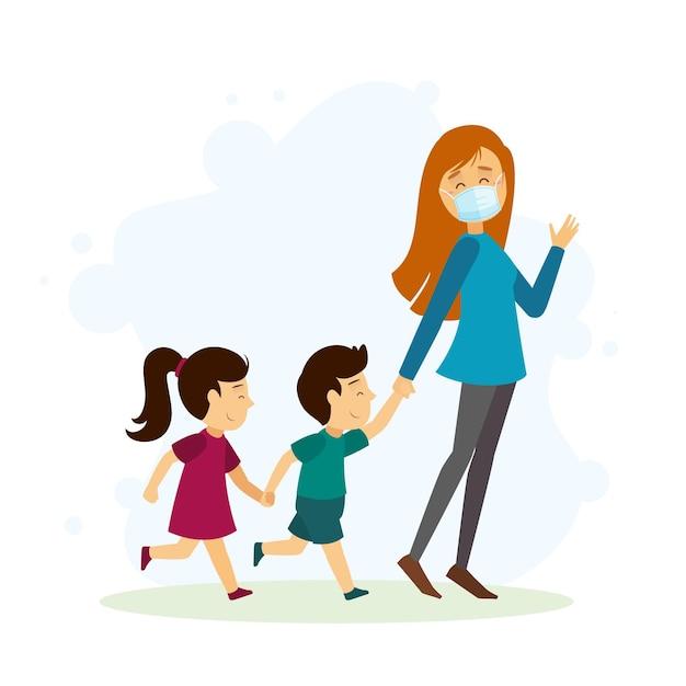 Madre paseando a los niños al aire libre con máscaras médicas vector gratuito