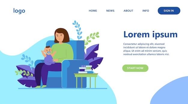 Madre sentada en un sillón y sosteniendo a un bebé vector gratuito