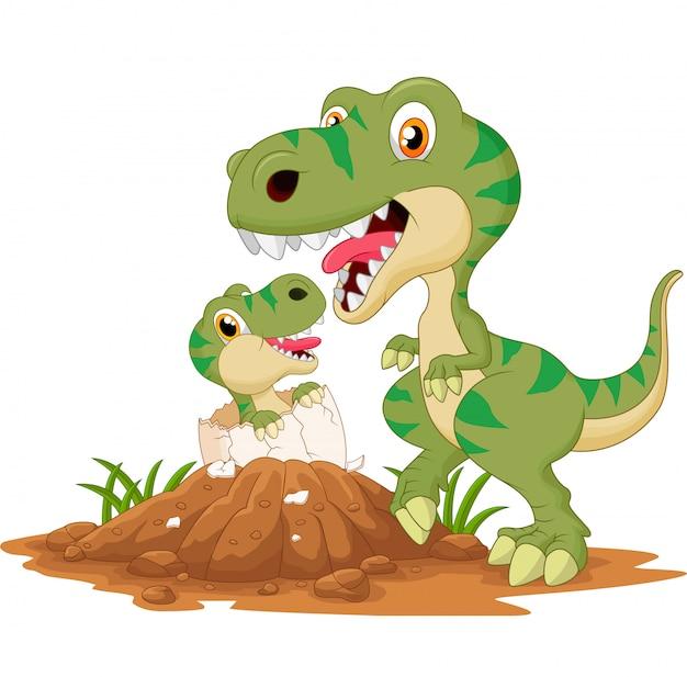 Madre tiranosaurio con eclosión de bebés Vector Premium