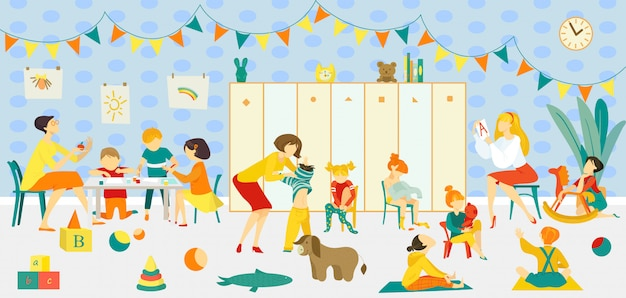 Maestra con clase de jardín de infantes, ilustración interior de classrom. educación de niños en grupo en la infancia, preescolar con carácter de niño niña. pequeños niños en la habitación, juegan con juguetes. Vector Premium