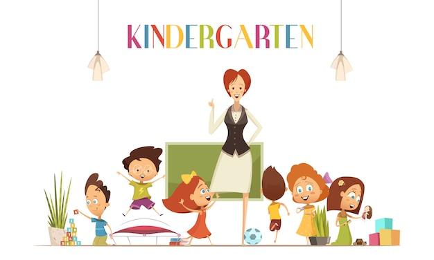La maestra de kindergarten en un ambiente positivo en el aula coordina las actividades de los niños para que sean vector gratuito
