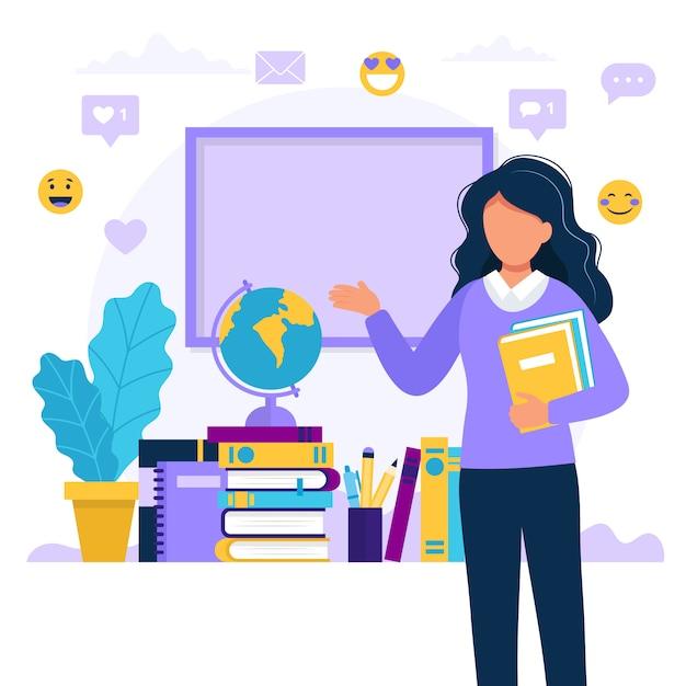 Maestra con libros y pizarra. Vector Premium