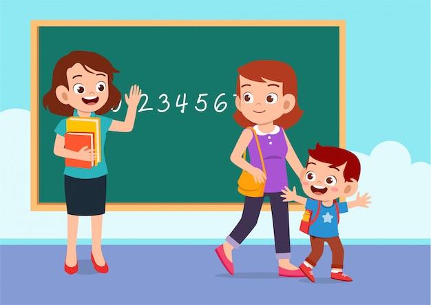 Maestra, madre y niño en clase Vector Premium