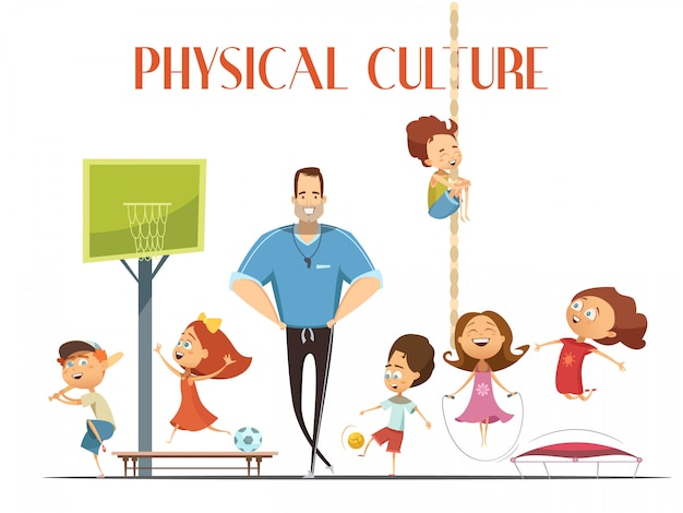 El maestro de cultura física de la escuela primaria disfruta de instalaciones deportivas modernas con niños jugando baloncesto y vector gratuito
