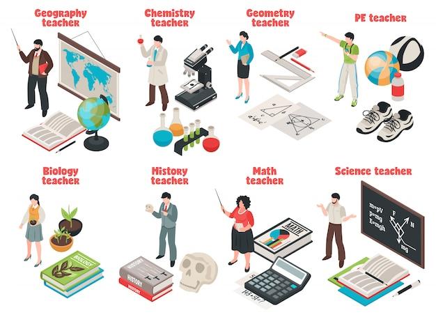 Maestros y escuela con símbolos de biología y geografía aislados isométricos vector gratuito