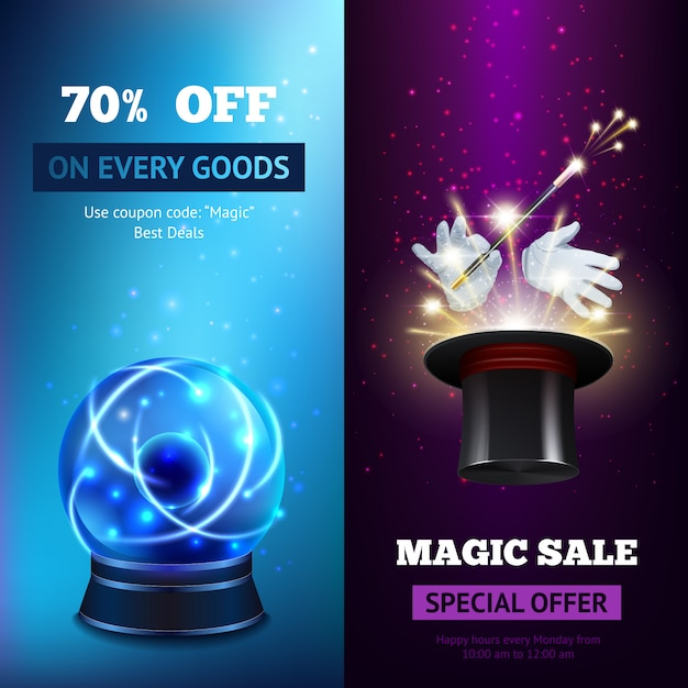 Magic banners vertical vector gratuito