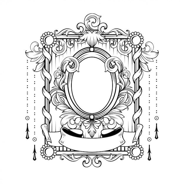 Magnífico marco barroco con espacio en blanco Vector Premium